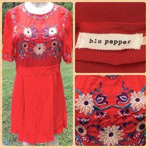 Blu Pepper Embroidered Fit & Flare Mini Dress L